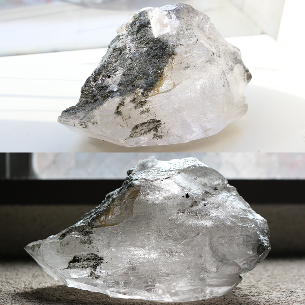 カテドラル水晶原石(ガネーシュヒマール産ヒマラヤ水晶)(天然石 パワーストーン)を角度を変えて2枚撮影